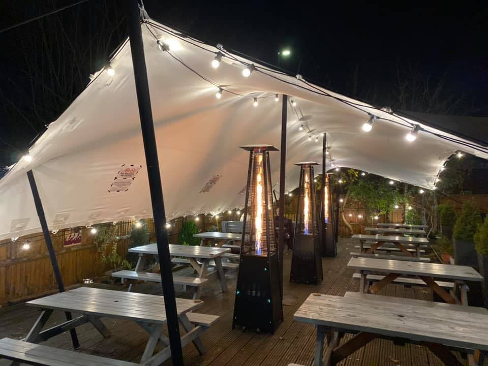 Heated patio area at Brouge